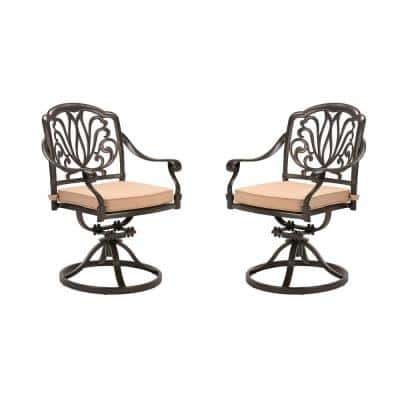 Classic Dark Brown Swivel Cast Aluminum Outdoor Dining Chair with Beige Cushions(2-Pack)