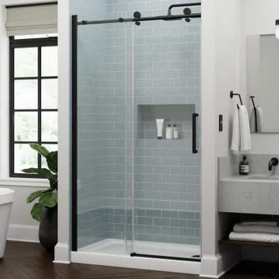 Exuma 48 in. W x 76 in. H Sliding Frameless Shower Door in Matte Black with 3/8 in. (10 mm) Clear Glass