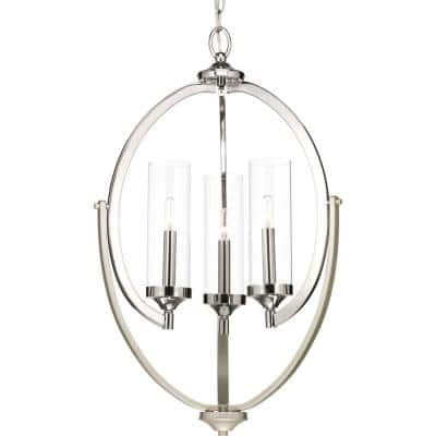 Evoke Collection 3-Light Polished Nickel Clear Glass Luxe Chandelier Light