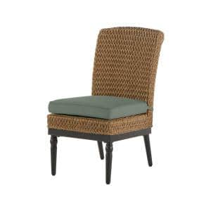 Camden Light Brown Seagrass Wicker Outdoor Patio Armless Dining Chair with Sunbrella Cast Spa Cushions