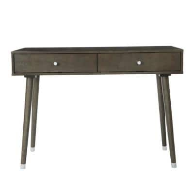 Cupertino 41 in. Dark Gray Standard Rectangle Wood Console Table with Drawers