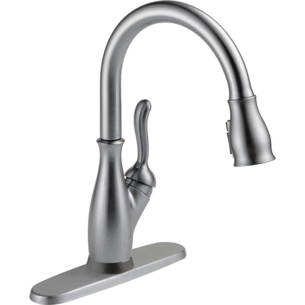 Delta Leland Single Handle Pull Down Sprayer Kitchen Faucet With Touch2o And Shieldspray Technology In Arctic Stainless 9178t Ar Dst The Home Depot