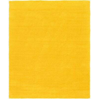 Solid Shag Tuscan Sun Yellow 12 ft. x 15 ft. Area Rug