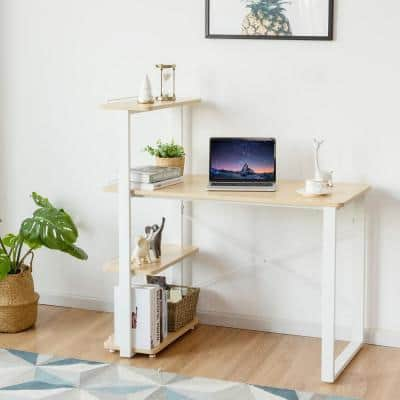 43.5 in. Rectangle Natural Wood Writing Desk