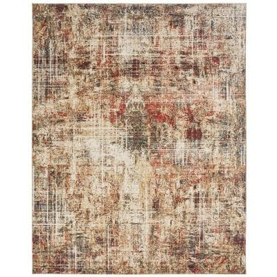 Ivory and Crimson 8 ft. x 10 ft. Area Rug