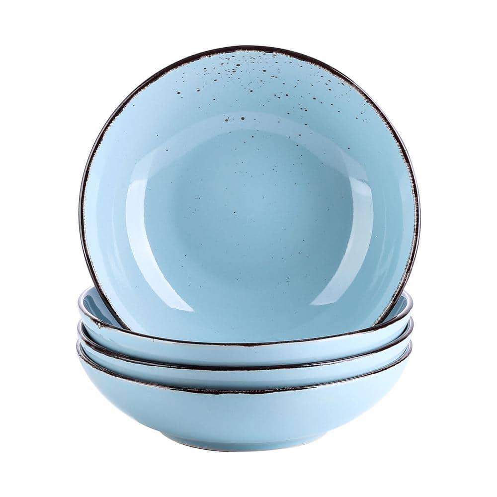 Vancasso 4 Piece Light Blue Ceramic Dinnerware Set Salad Pasta Bowls Soup Plates Service For 4 Vc Navia 3 Stp The Home Depot