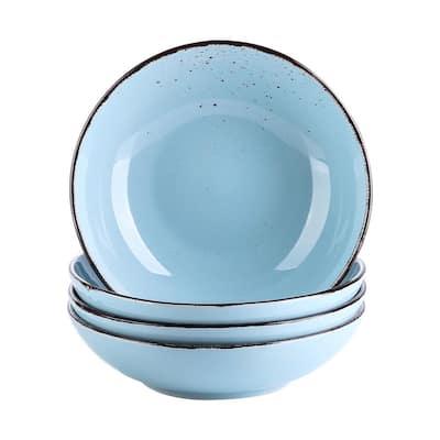 4-Piece Light Blue Ceramic Dinnerware Set Salad Pasta Bowls Soup Plates(Service for 4)