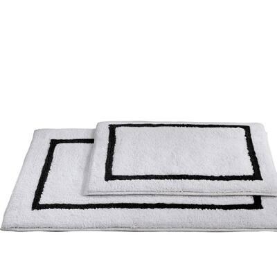 2-Pack Reversible Cotton Contrast Stripe 21x34 inch Bath Mat Set Black