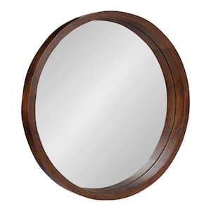 Medium Round Brown Contemporary Mirror (22 in. H x 22 in. W)