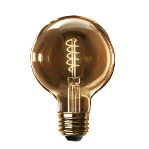 60-Watt Equivalent G40 Dimmable LED Amber Glass Vintage Edison Light Bulb With Spiral Filament Warm White