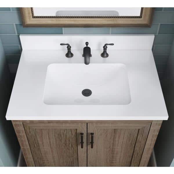 Glacier Bay Kendall 30 In W Bath Vanity In Distressed Oak With Engineered Stone Vanity Top In White With White Basin Hdc30prgv The Home Depot