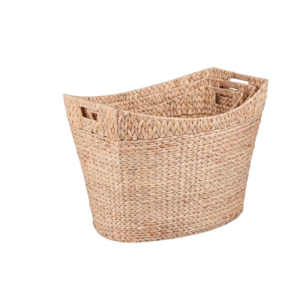 Rattan storage baskets Deep Buff Honey bedroom bathroom kitchen in 3 sizes