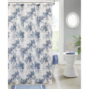 Printed Waffle 70 in. x 72 in. 13-Piece Shower Curtain Set in Butterflies