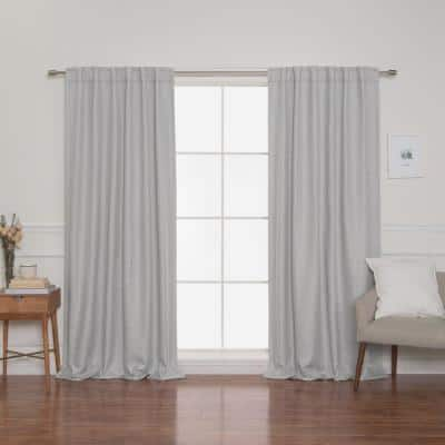 Light Gray Faux Linen Back Tab Blackout Curtain - 52 in. W x 84 in. L (Set of 2)