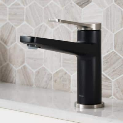 Single-Hole Single-Handle Basin Bathroom Faucet in Spot Free Stainless Steel/Matte Black with Overflow Pop-Up Drain