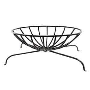 13 in. Tall x 32 in. L Black Oval Wrought Iron Basket Grate for Fireplace Logs