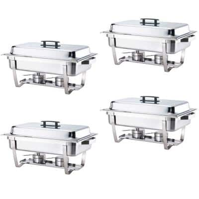8 Qt. Foldable Frame Stainless Steel Chafing Dish Buffet Chafer Complete (Set of 4)