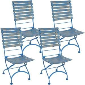 Cafe Couleur Chestnut Blue Folding Wooden Outdoor Dining Chair (4-Pack)