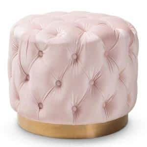 Valeria Light Pink and Gold Ottoman