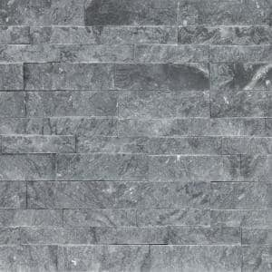 Glacial Grey Splitface Ledger Panel 6 in. x 24 in. Natural Marble Wall Tile (10 cases /60 sq. ft. / Pallet)