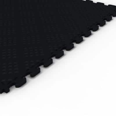 Multi-Purpose Black 18.3 in. x 18.3 in. PVC Garage Flooring Tile with Raised Diamond Pattern (6-Pieces)