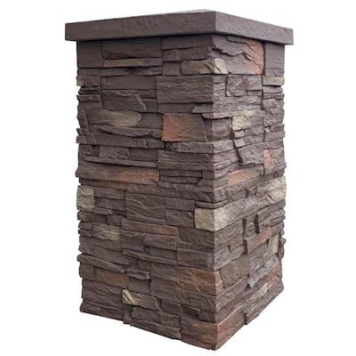 Country Ledgestone 30 in. x 16 in. Himalayan Brown Faux Polyurethane Stone Siding Column Wrap (4-Piece)