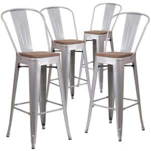 30.25 in. Silver Bar Stool (4-Pack)