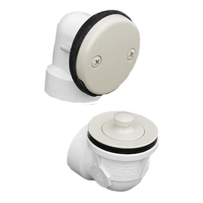 Friction Lift Standard Sch. 40 PVC 2-Hole Bath Waste and Overflow Tub Drain Half Kit, Almond