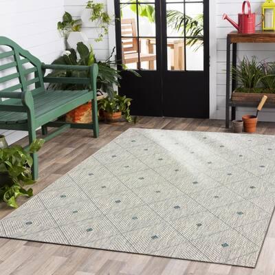 Sun Shower Blue / Gray 7 ft. 9 in. x 9 ft. 9 in. Indoor/Outdoor Rectangular Area Rug