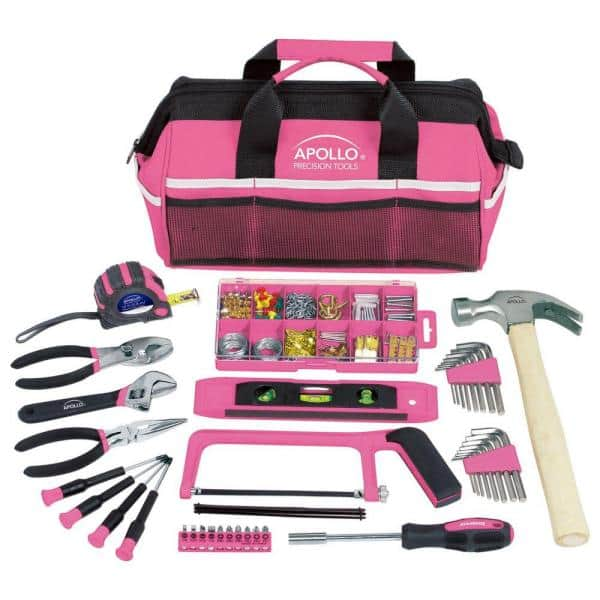 Apollo Home Tool Kit in Soft-Sided Tool Bag, Pink (16-Piece