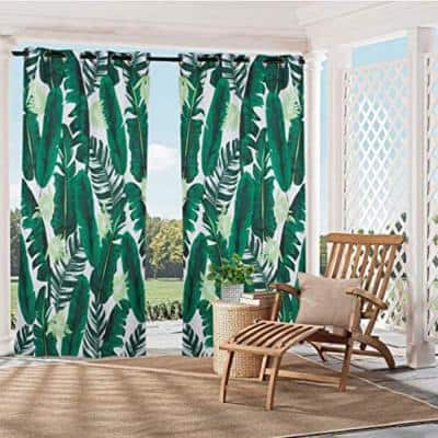 59 in x 84 in Banana Leaf Print Outdoor Curtain Panel for Porch Patio, Privacy Drape Grommets Curtain(1 Panel )
