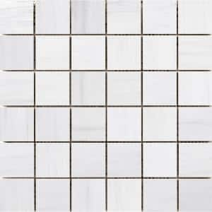 Latitude White 11.73 in. x 11.73 in. x 10 mm Porcelain Mesh-Mounted Mosaic Tile (0.97 sq. ft.)