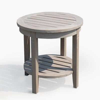 Heaton Weathered Gray Teak Wood Outdoor Side Table