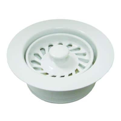 Push-In Kitchen Garbage Disposal Assembly (Flange/Stopper/Strainer) in Polar White - Fits In-Sink-Erator