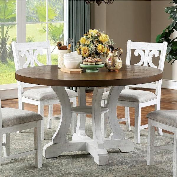 America Wicks 5 Piece Distressed White, Round Farmhouse Kitchen Table Sets