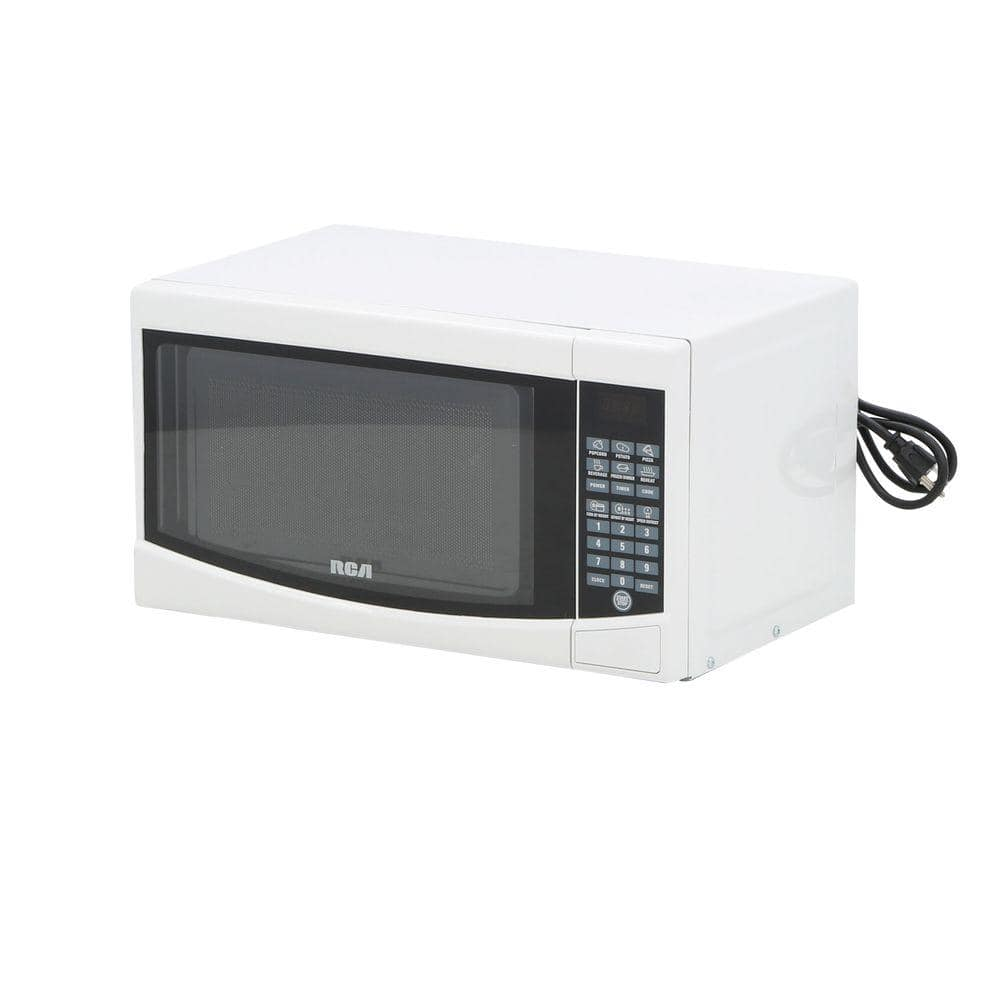 rca 0 7 cu ft countertop microwave in white rmw733 white the home depot