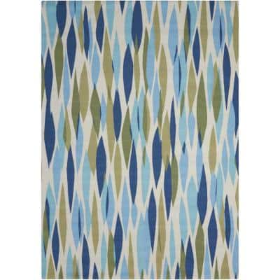 Bits and Pieces Seaglass 5 ft. x 7 ft. Geometric Modern Indoor/Outdoor Area Rug
