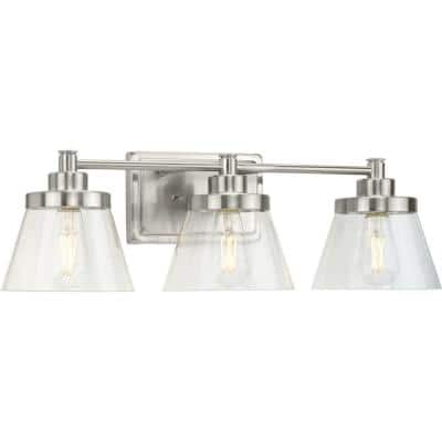 Hinton 24.5 in. 3-Light Brushed Nickel Clear Seeded Glass Farmhouse Bath Vanity Light