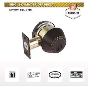 2-3/4 in. Bronze Single Cylinder Commercial Heavy-Duty Industrial Deadbolt