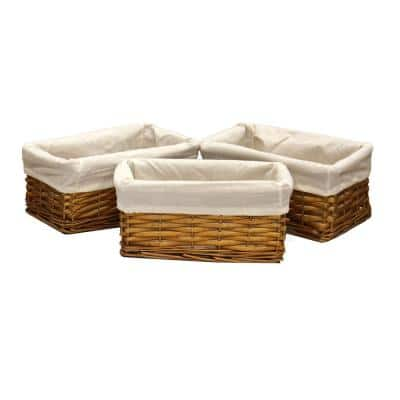 9.8 in. x 5.8 in. x 4.5 in. Willow Shelf Basket Lined with White Lining (Set of 3)