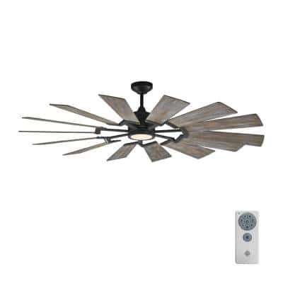 Prairie 62 in. LED Indoor/Outdoor Aged Pewter Ceiling Fan with Light Grey Weathered Oak Blades, Light Kit and Remote