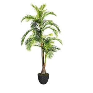 91.6 in. Tall Palm Tree Artificial Indoor/ Outdoor Lifelike Faux in 13.6 in. Black Honeycomb Fiberstone Planter