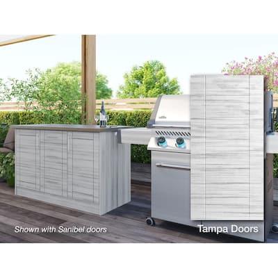 Tampa Whitewash 14-Piece 55.25 in. x 34.5 in. x 25.5 in. Outdoor Kitchen Cabinet Island Set