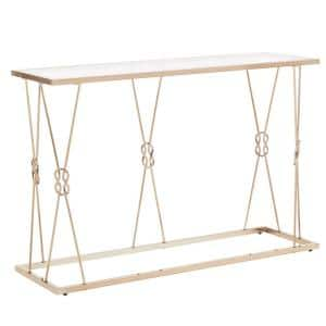 44 in. Champagne Gold Rectangle Glass Console Table with Reef Knot Frame