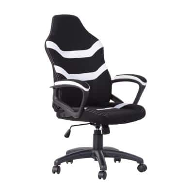 White Ergonomic Height-Adjustable Office Gaming Chair with Breathable Fabric for Office, Studyroom