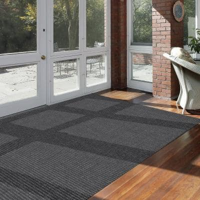 Checkmate Charcoal/Black 6 ft. x 8 ft. Plaid Indoor/Outdoor Area Rug
