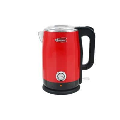 Retro Collection 1.7 in. Red Stainless Steel Electric Kettle with Temperature Gauge