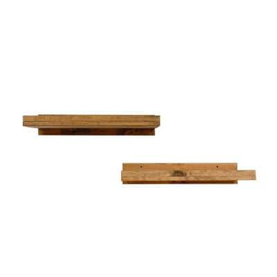 Rustic Luxe 24 in. W x 10 in. D Floating Walnut Decorative Shelves (Set of 2)
