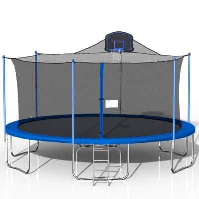 MINISO 16 ft. Round Blue Trampoline with Safety Enclosure Net and Basketball Hoop