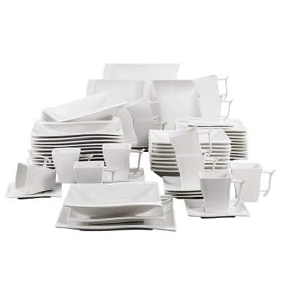 Flora Series 60-Piece White Ceramic Dinnerware Set Plates Cups and Saucer (Set Service for 12)